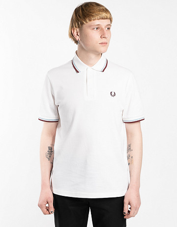Фото Мужское поло Fred Perry Twin Tipped White